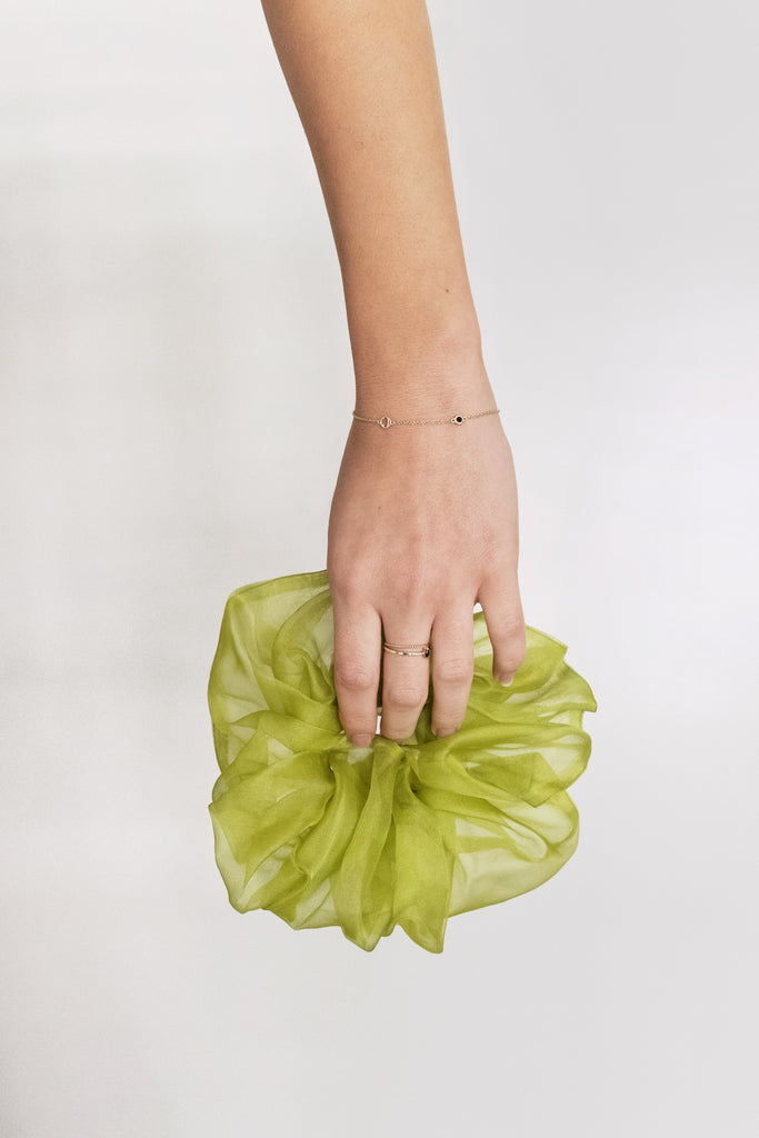 Oversized Organza Scrunchie - Chartreuse