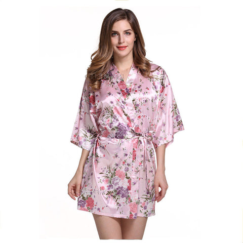 Women Silk Satin Short Night Robe