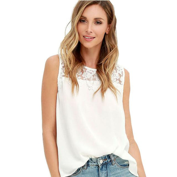 Chiffon Lace Sleeveless Blouse