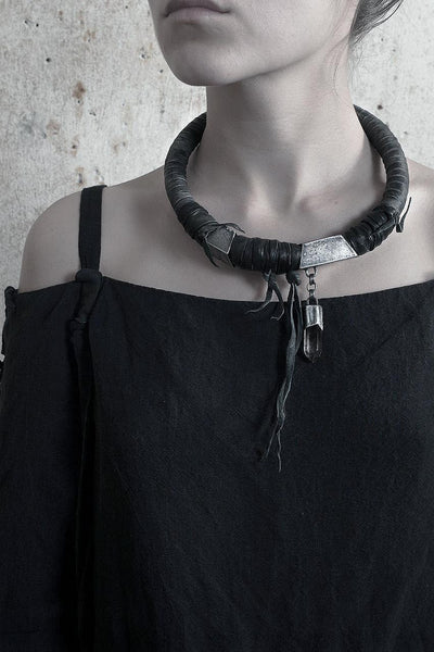 Wild Crystal Leather Necklace