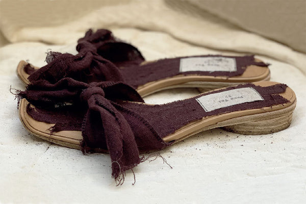 Bowknot Slippers - Burgundy