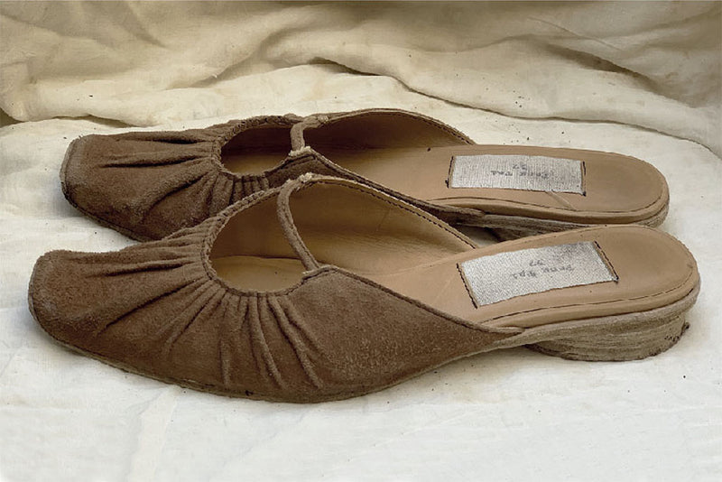 Gathered Slippers - Brown