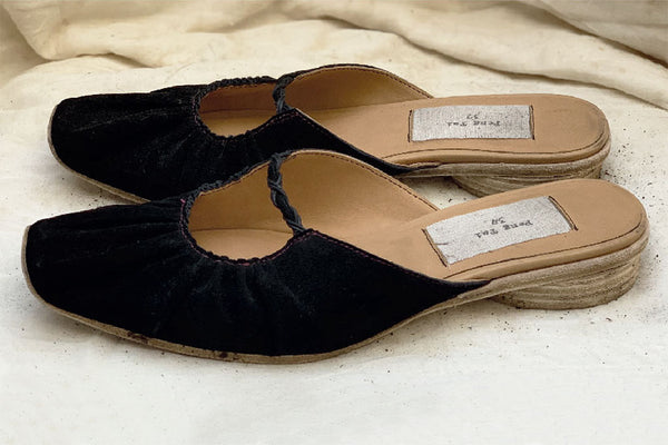 Gathered Slippers - Black