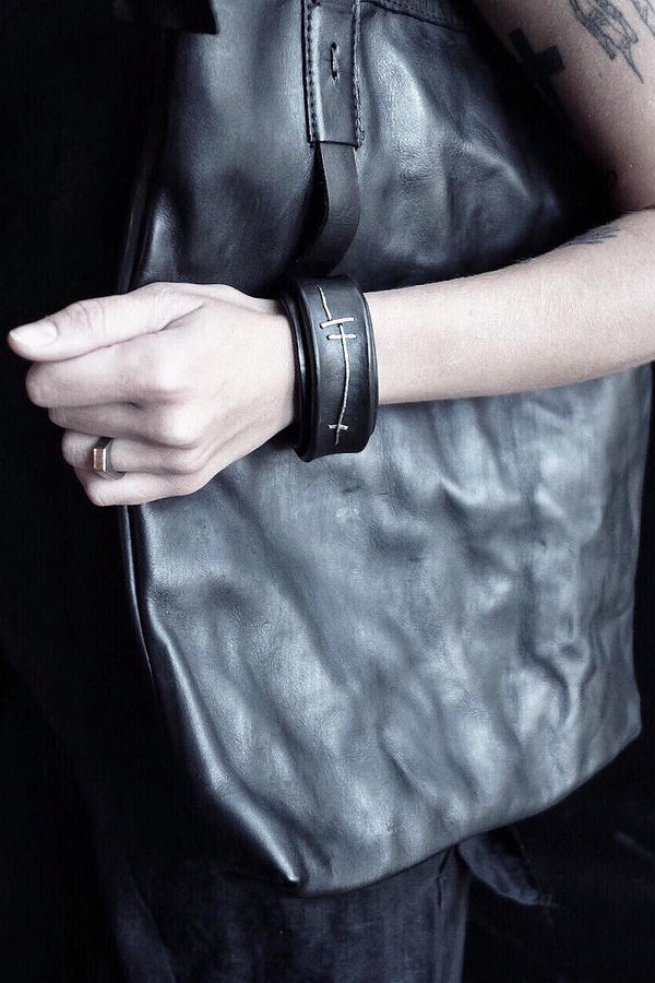 silver stitched leather bracelet