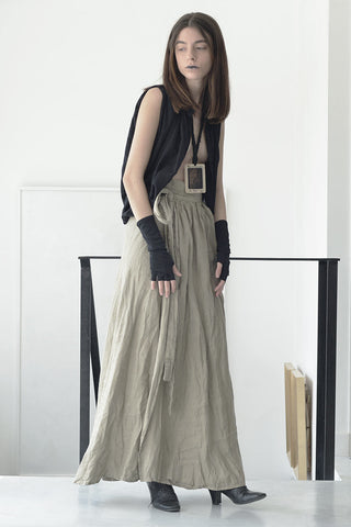 WRAP AROUND MAXI LINEN SKIRT - NATURAL
