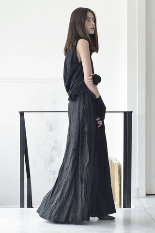 WRAP AROUND MAXI LINEN SKIRT - BLACK
