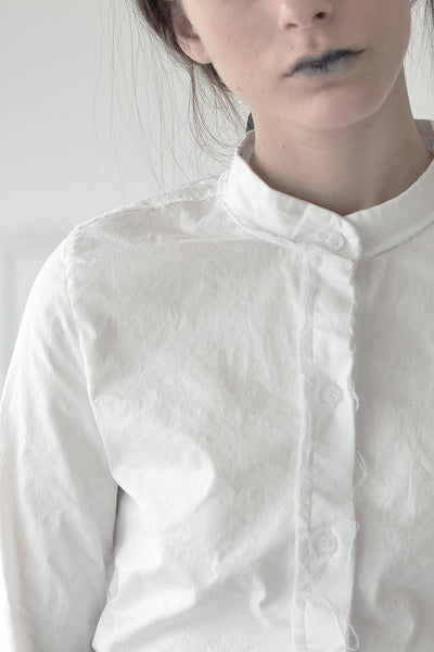 MANDARIN COLLAR TAILORED SHIRT - WHITE