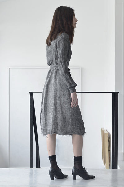 Tailored Dresses | Midi Linen Dress | Workwear Dress| Ladies Work Dresses | Designer Dresses Online | Israeli Clothing Brands | Israeli Fashion Designers | Shopping Mall Tel Aviv | Yafo Tel Aviv Fashion | Israel Online Shopping | Flea Market Jaffa Fashion Studio -  grey - 2