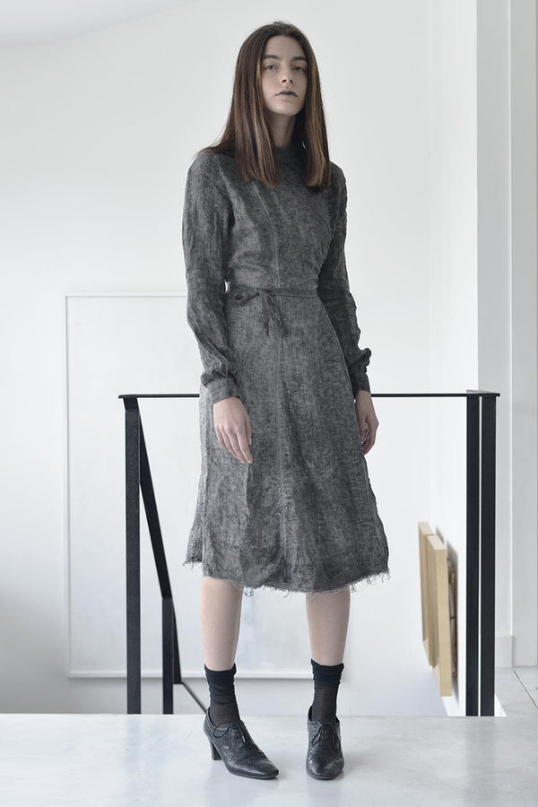 Tailored Dresses | Midi Linen Dress | Workwear Dress| Ladies Work Dresses | Designer Dresses Online | Israeli Clothing Brands | Israeli Fashion Designers | Shopping Mall Tel Aviv | Yafo Tel Aviv Fashion | Israel Online Shopping | Flea Market Jaffa Fashion Studio -  grey - 1