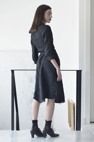 Tailored Dresses | Midi Linen Dress | Workwear Dress| Ladies Work Dresses | Designer Dresses Online | Israeli Clothing Brands | Israeli Fashion Designers | Shopping Mall Tel Aviv | Yafo Tel Aviv Fashion | Israel Online Shopping | Flea Market Jaffa Fashion Studio -  black - 2
