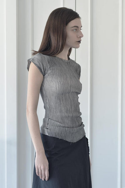 SILK CHIFFON PLEATED T SHIRT - Black/White/Dark Grey