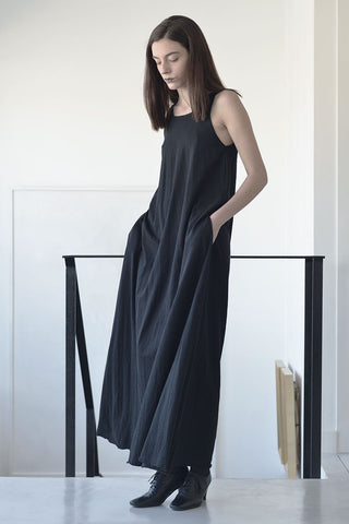 maxi trapeze tank dress - black