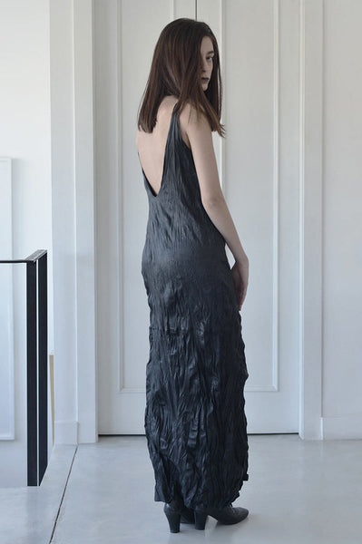 WRINKLED MAXI LEATHER DRESS - BLACK