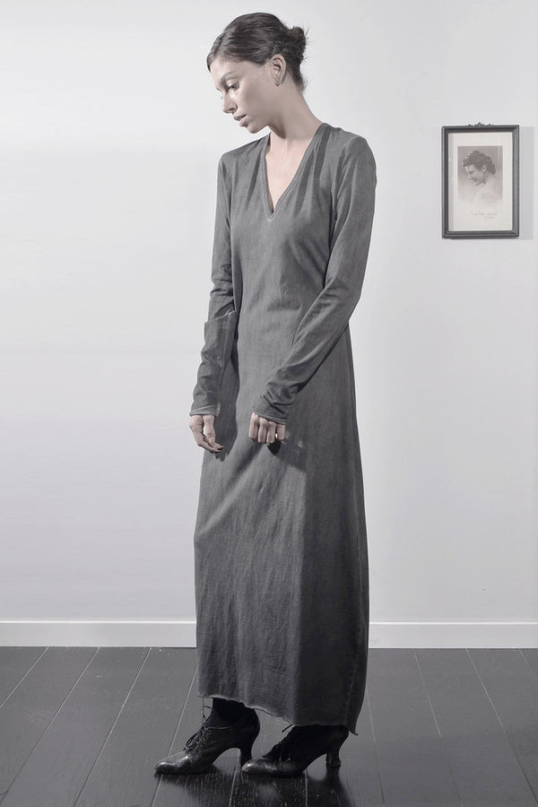 TIE DYE DEEP V MAXI LONG SLEEVE DRESS - Dark Grey