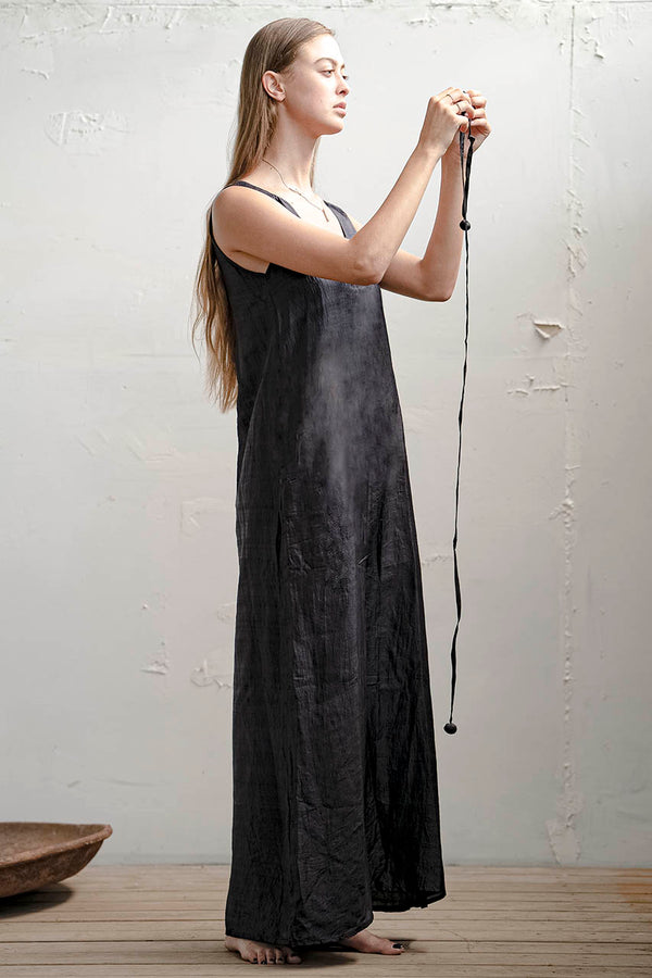 Tamar Silk Dress - Natural / Black