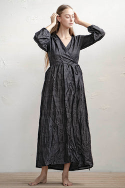 Hagar Wraparound Silk Dress - Natural / Black