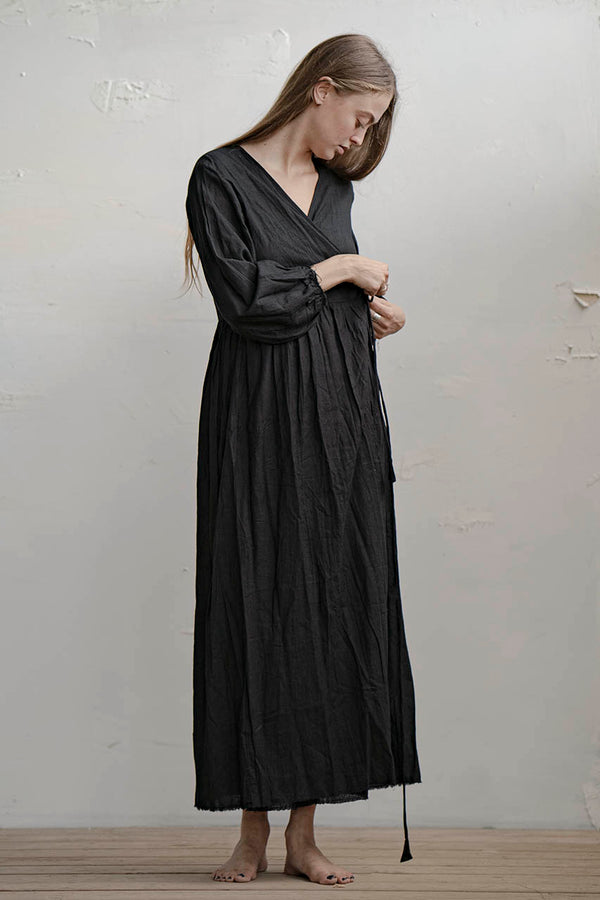 Hagar Wraparound Dress - Natural / Black
