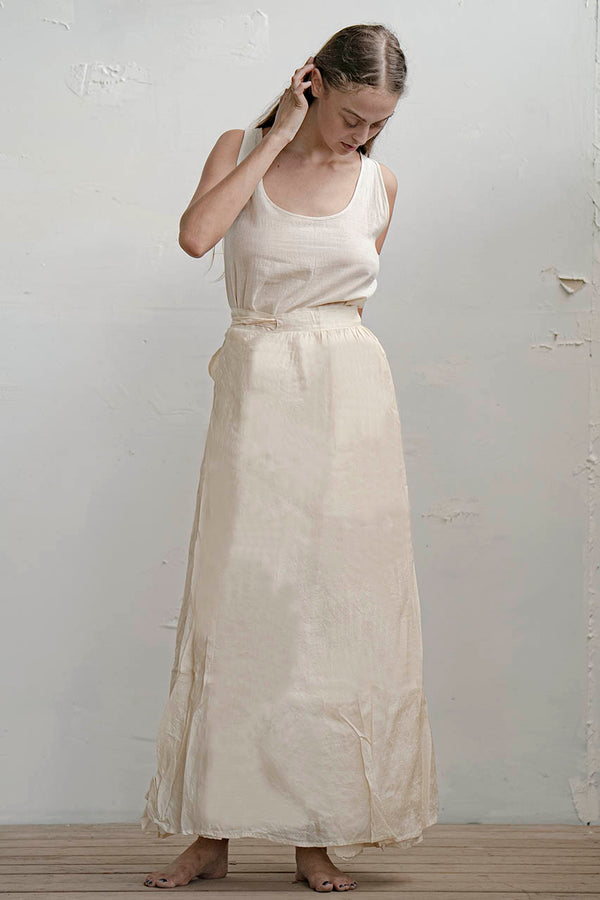 RIVKA SILK SKIRT - NATURAL / BLACK