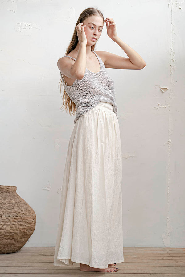 KNITTED TANK - WHITE / NUDE / GREY