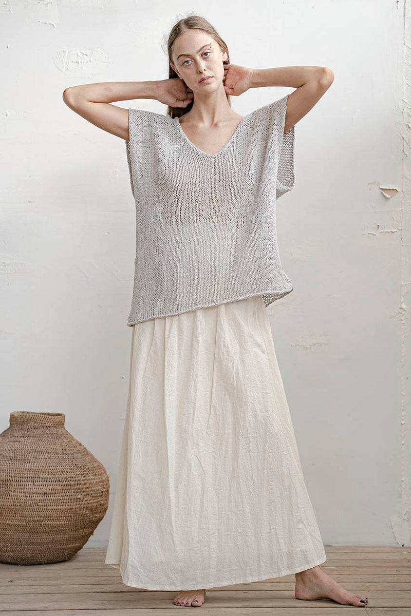 KNITTED OVERSIZE SHIRT - WHITE / NUDE / GREY