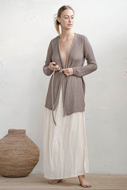 KNITTED CARDIGAN - NUDE / STONE / BLACK