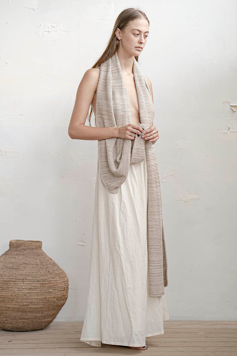 KNITTED SHAWL - CREAM / MELANGE / BLACK