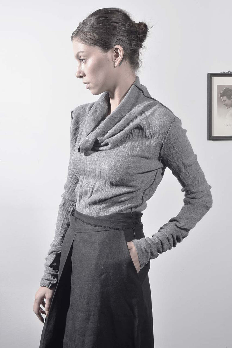 fluffy turtleneck babylock long sleeve shirt - grey
