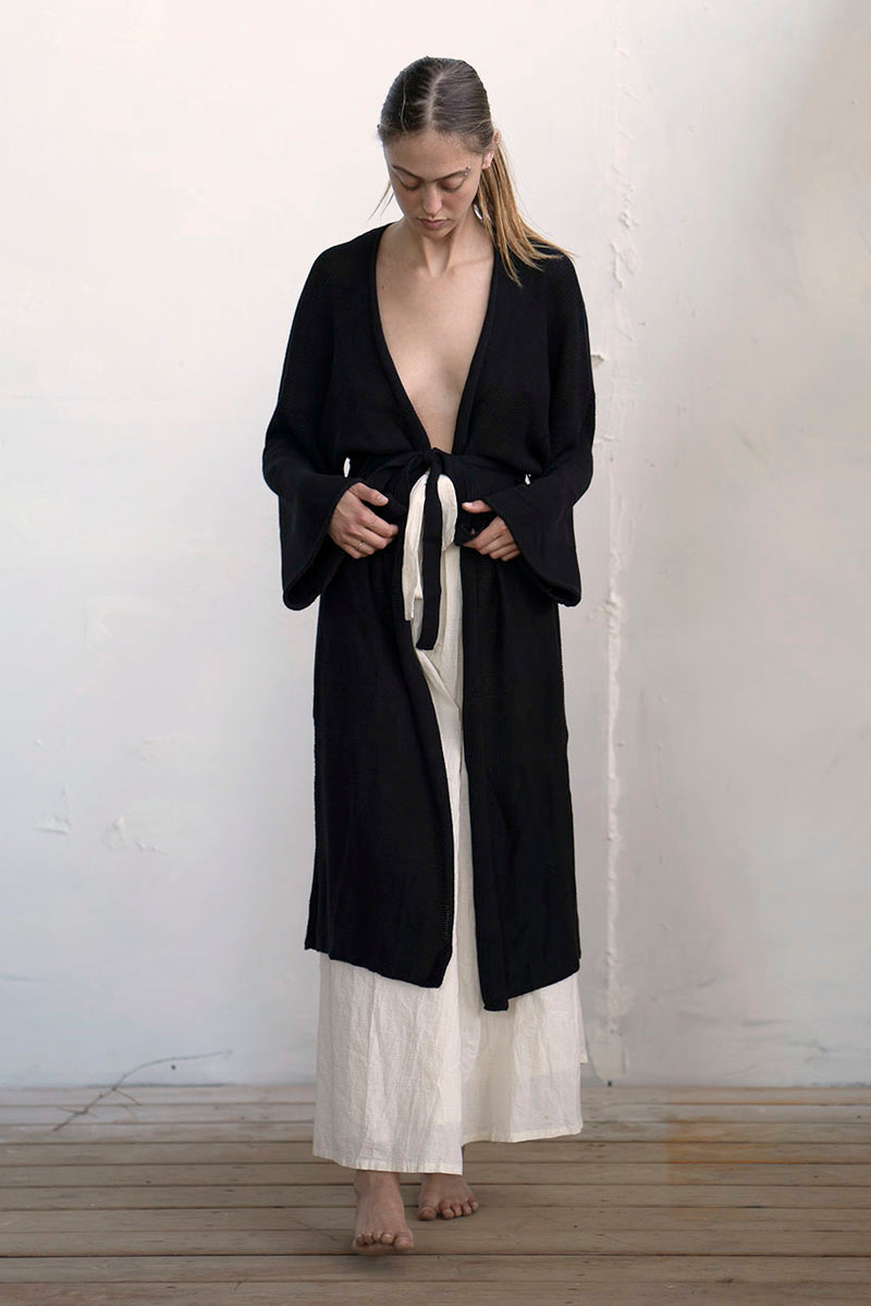 LONG KNITTED KIMONO - MELANGE / CREAM /  BLACK