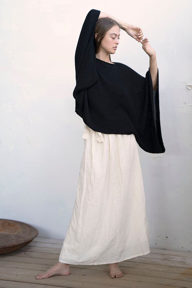 KNITTED SQUARE SHIRT - STONE / MELANGE / BLACK