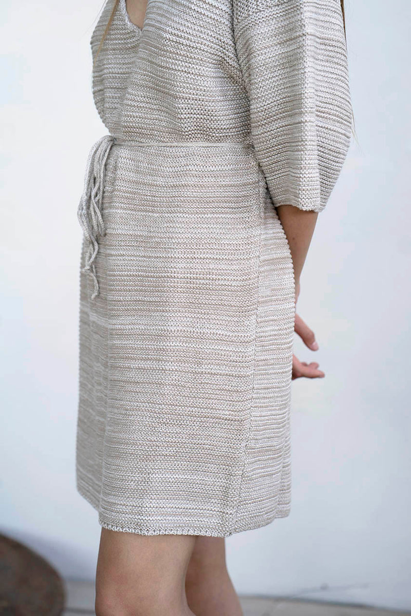 KNITTED MIDI SCOOP DRESS - STONE / MELANGE / BLACK
