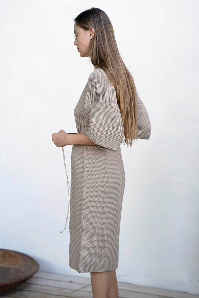 LONG KNITTED SCOOP DRESS - STONE / MELANGE / BLACK