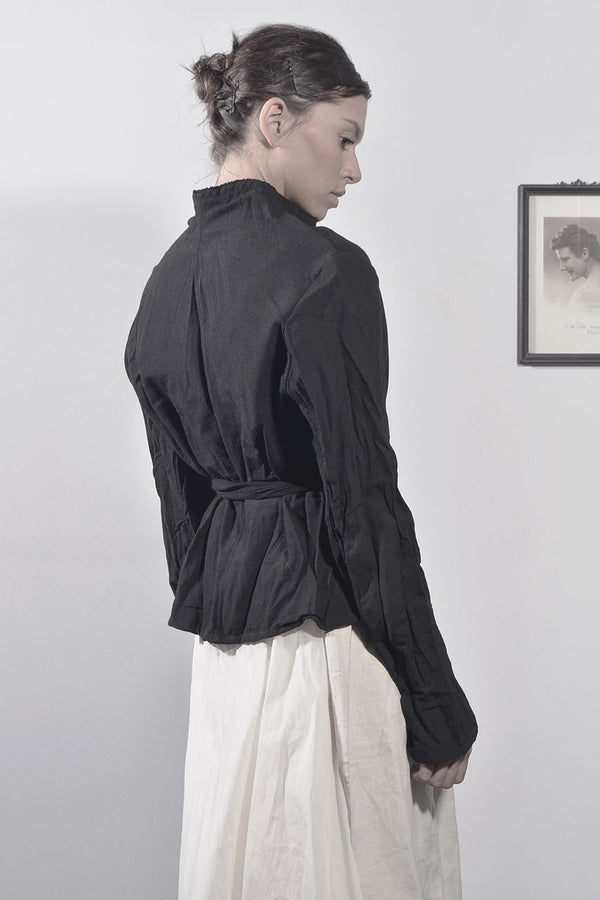 wrap around wrinkled jacket - black