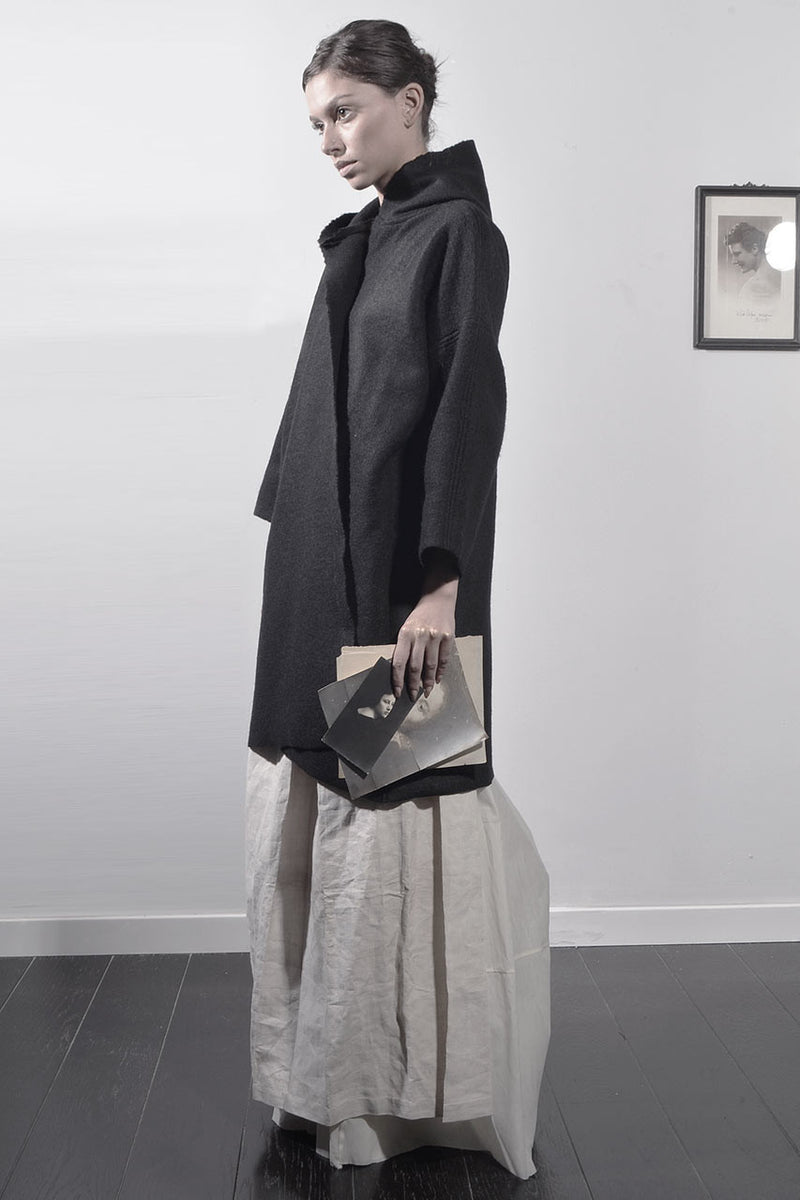 Wool Cape Coat - Black