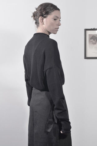 KNITTED OVERSIZE TURTLENECK SHIRT - BLACK