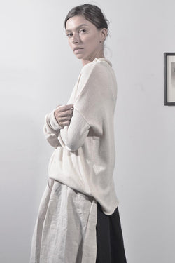 KNITTED OVERSIZE TURTLENECK SHIRT - CREAM