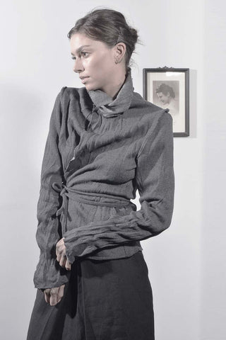wrap around wrinkled jacket - grey