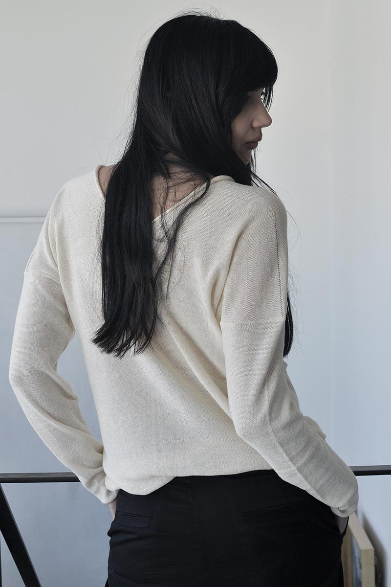 KNITTED DOUBLE V LONG SLEEVE SHIRT - CREAM / GREY / BLACK