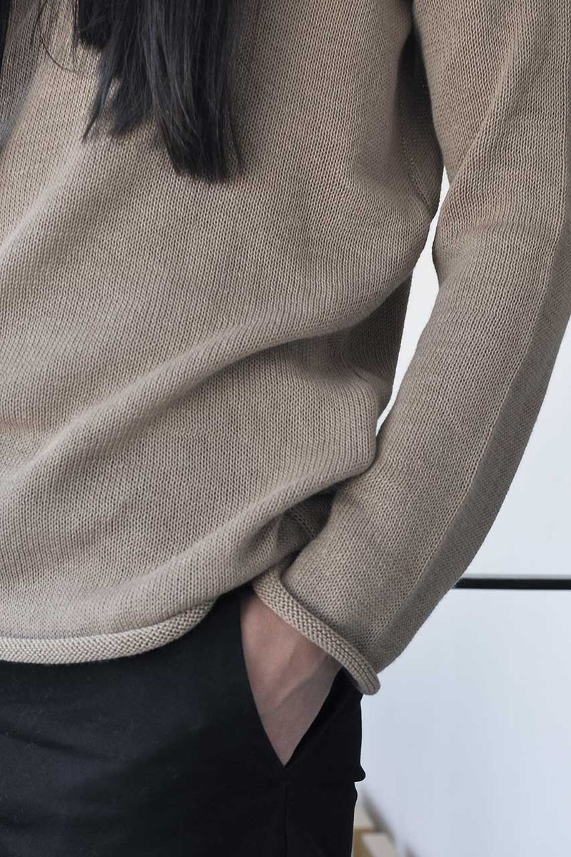 knitted open back long sleeve shirt - mocha / black / grey / cream
