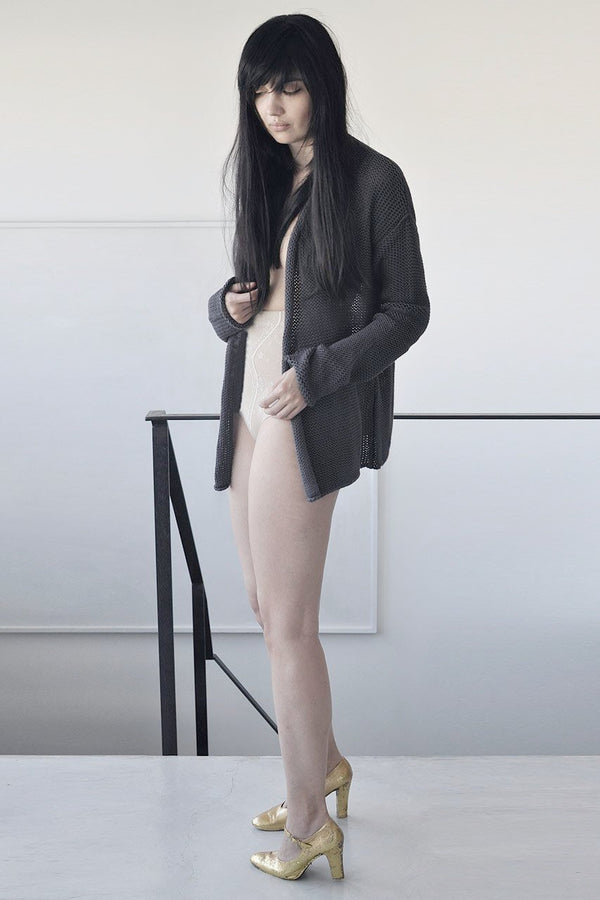 DOUBLE KNITTED CARDIGAN - BLACK / GREY