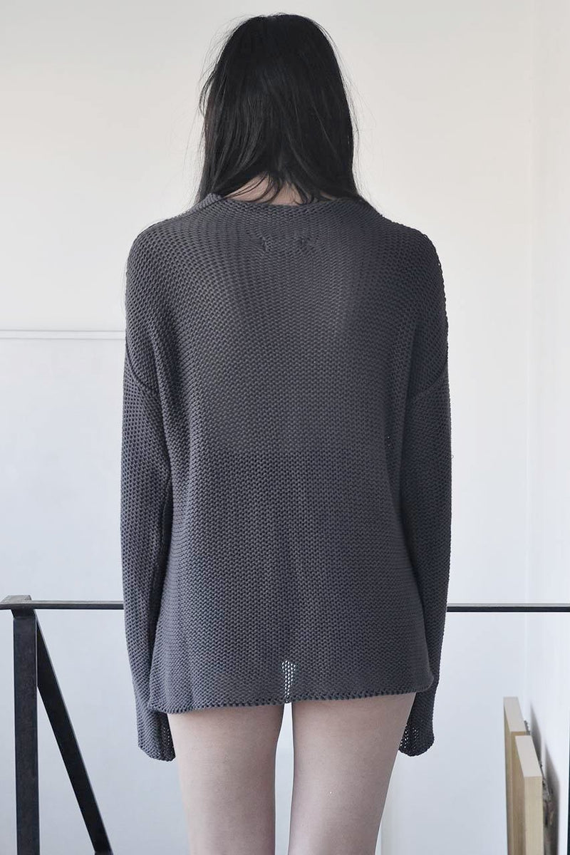 KNITTED TURTLENECK LONG SLEEVE SWEATER - BLACK / NUDE / GREY