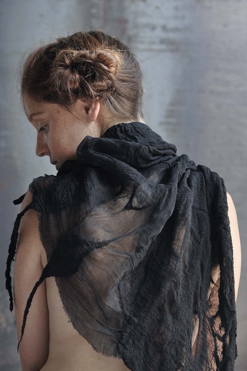 handmade silk felt shawl - black / white