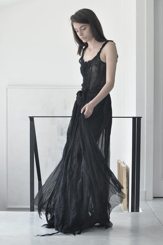SHEER SILK & FELT MAXI DRESS - BLACK