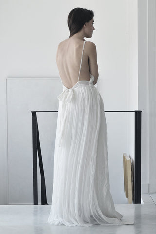 SHEER SILK & FELT MAXI DRESS - WHITE