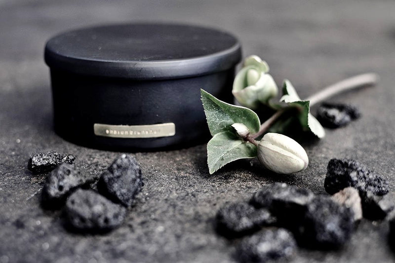 lava rocks room fragrance box - black / gold