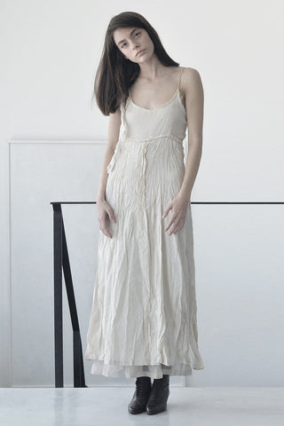 DOUBLE LAYER COPRO & SILK MAXI DRESS - CREAM