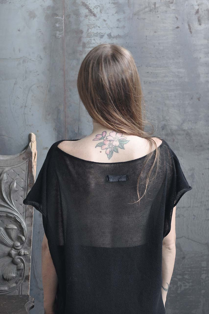 KNITTED OVERSIZE TRANSPARENT BACK SHIRT - BLACK / CREAM / MOCHA