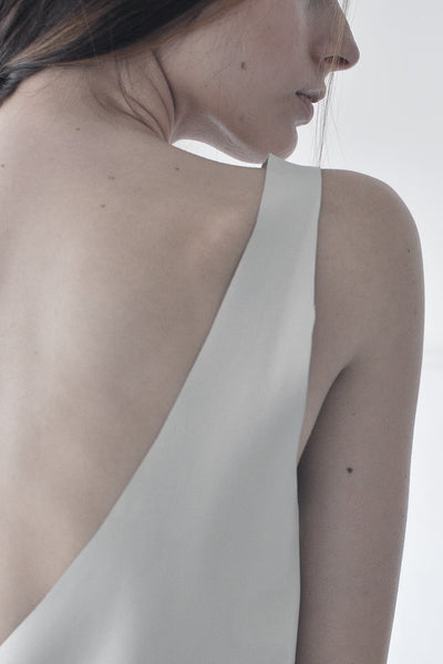 OPEN BACK LEATHER TANK - CREAM