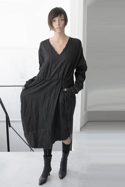 furrow washed linen dress