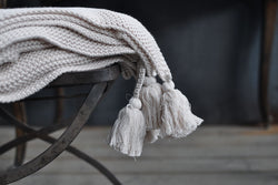 cotton tassels blanket - cream