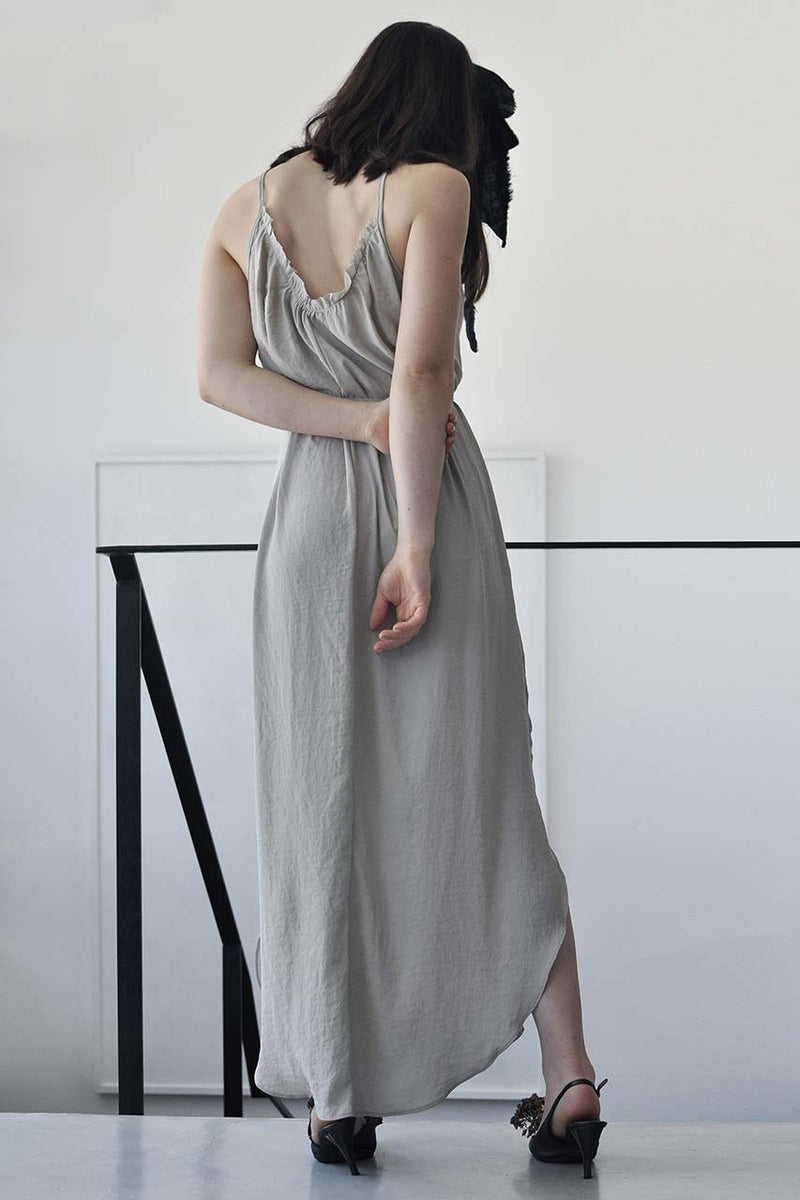 pleats maxi cupro dress - nude / grey / dark grey / black